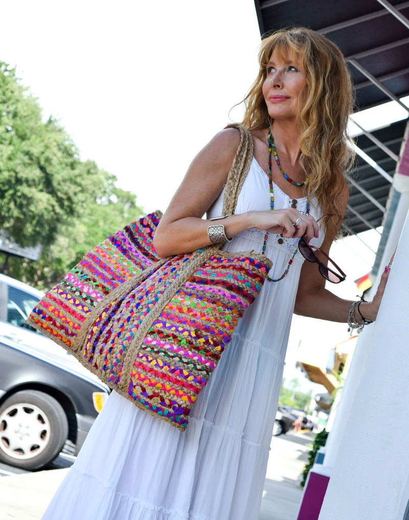 Uncommon Goods sari bag and necklace